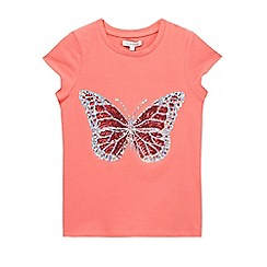 bluezoo - Girls' pink sequinned butterfly t-shirt