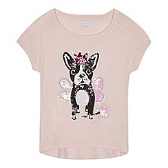 bluezoo - Girls' pink sequin pug t-shirt