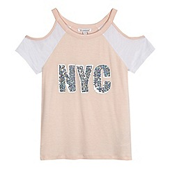 bluezoo - Girls' cream cold shoulder t-shirt
