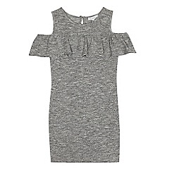 bluezoo - Girls' grey frilled neck cold shoulder dress