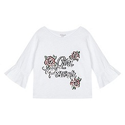 bluezoo - Girls' white 'Girl power' slogan t-shirt