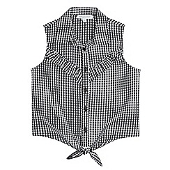 bluezoo - Girls' black and white gingham print shirt
