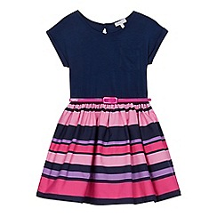 bluezoo - Girls' navy and pink short-sleeved striped skirt dress