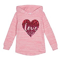 bluezoo - Girls' pink heart applique hoodie