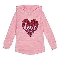 bluezoo - Girls' pink heart applique hoodie