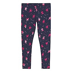bluezoo - Girls' navy unicorn print leggings