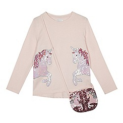 bluezoo - Girls' pink sequinned unicorn top with a bag