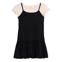 bluezoo - Girls' pink croptop and black textured striped dress set