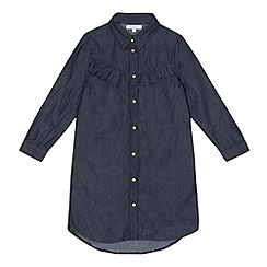 bluezoo - Girls' dark blue frilled denim shirt dress