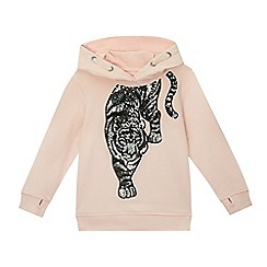 bluezoo - Girls' pale pink sequinned tiger sweater