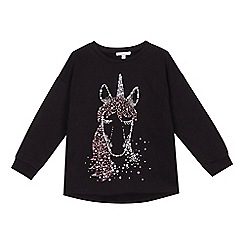 bluezoo - Girls' black unicorn print sweater