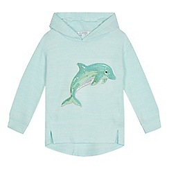 bluezoo - Girls' aqua dolphin applique hoody