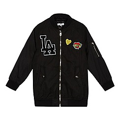 bluezoo - Girls' black badge applique bomber jacket