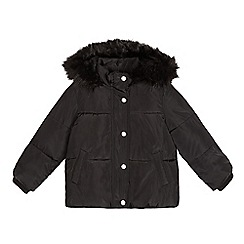 bluezoo - Girls' black faux fur hood padded coat