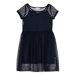bluezoo - Girls' navy mesh dress