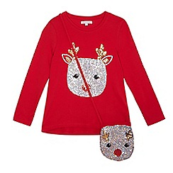 bluezoo - Girls' red sequin reindeer top and bag set