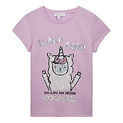 bluezoo - Girls' pink 'Llama-corn' t-shirt