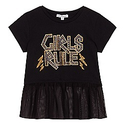 bluezoo - Girls' black 'Girls rule' slogan print t-shirt