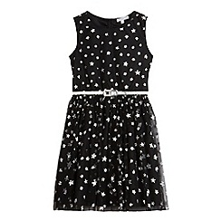 bluezoo - Girls' black glitter star print dress