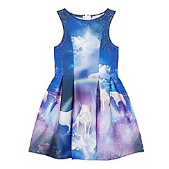 bluezoo - Girls' blue unicorn print scuba dress