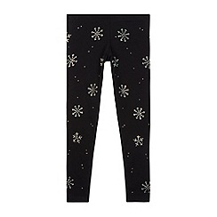 bluezoo - Girls' navy diamante snowflake leggings