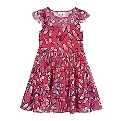 bluezoo - Girls' pink mesh butterfly print dress