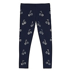 bluezoo - Girls' navy diamante cherry leggings