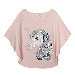 bluezoo - Girls' light pink sequinned unicorn cape top