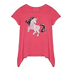 bluezoo - Girls' pink sequinned unicorn hanky hem top