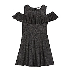 bluezoo - Girls' grey metallic frilled dress