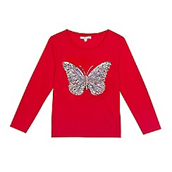 bluezoo - Girls' red sequin applique butterfly top