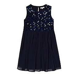 bluezoo - Girls' navy chevron sequinned embellished dress