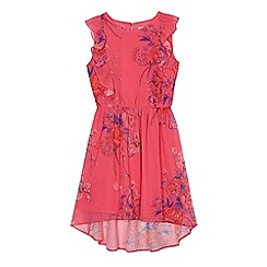 bluezoo - Girls' pink floral print chiffon dress