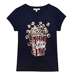 bluezoo - Girls' navy sequin popcorn applique t-shirt