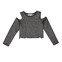 bluezoo - Girls' black metallic cold shoulder top