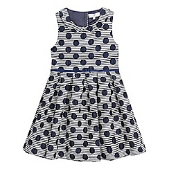 J by Jasper Conran - Girls' navy spotted belted dress