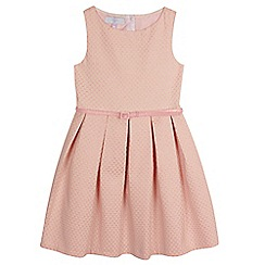 J by Jasper Conran - Girls' pink textured pleated belted dress