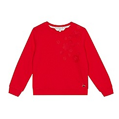 J by Jasper Conran - Girls' red flower applique sweater