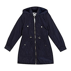 J by Jasper Conran - Girls' navy longline parka coat