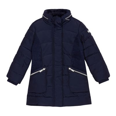 J by Jasper Conran Girls' navy shower resistant quilted coat ...