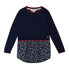 J by Jasper Conran - Girls' navy ditsy mock jumper dress