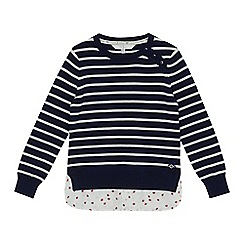 J by Jasper Conran - Girls' navy striped mockable jumper