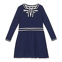 J by Jasper Conran - Girls' navy ribbed bow neck knitted dress