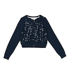 J by Jasper Conran - Girls' navy sequinned cardigan