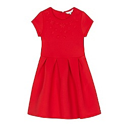 J by Jasper Conran - Girls' red flower applique scuba dress