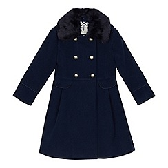 J by Jasper Conran - Girls' navy faux fur collar double breasted coat