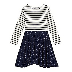 J by Jasper Conran - Girls' navy striped and spotted print skater dress