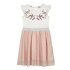 Mantaray - Girls pink bird print mesh dress