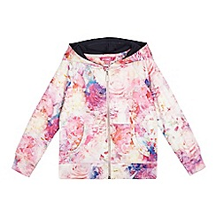 Pineapple - Girls' light pink floral print hoodie