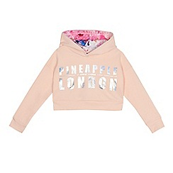 Pineapple - Girls' pink printed cropped hoodie